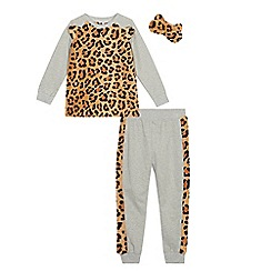 bluezoo - Girls' Brown Leopard Pyjama Set