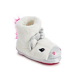 bluezoo - Girls' white faux fur unicorn bootie slippers