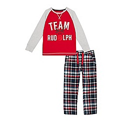 Lounge & Sleep - Kids' red check print 'Team Rudolph' cotton pyjama set