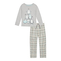 bluezoo - Girls' grey penguin print checked pyjama set