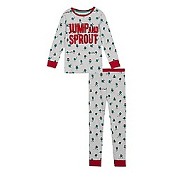 bluezoo - Boys' grey 'jump and sprout' pyjama set