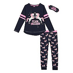 bluezoo - Girls' navy unicorn print pyjama set