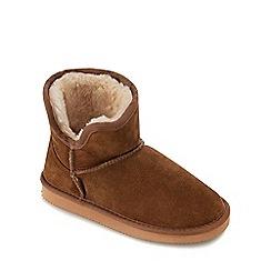 Mantaray - Kids' tan suede bootie slipper