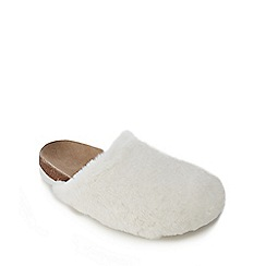 Mantaray - Kids' cream faux fur mule slippers
