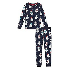 bluezoo - Girls' navy snowman print pyjama set