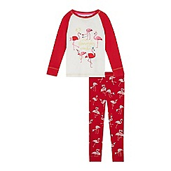 bluezoo - Girls' red 'flamazing crimbo' pyjama set