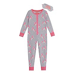 bluezoo - Girls' grey unicorn print onesie and eye mask set
