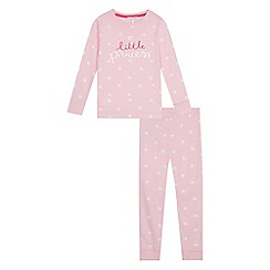 bluezoo - Girls' pink star 'little princess' print pyjama set