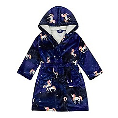 ef7536409084c bluezoo -  Girls  purple unicorn print dressing gown