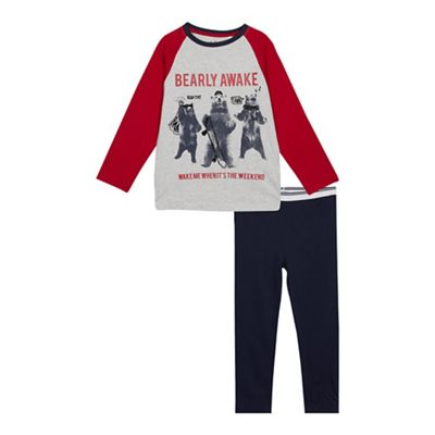 Bluezoo Boys Grey Bearly Awake Pyjama Set Debenhams