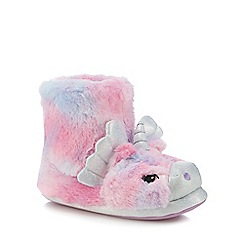 bluezoo - Girls' multi-coloured faux fur unicorn bootie slippers
