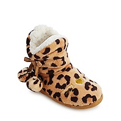 bluezoo - Kids' brown fleece leopard print bootie slippers
