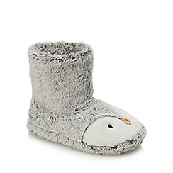 bluezoo - Girls' Grey Faux Fur Penguin Bootie Slippers
