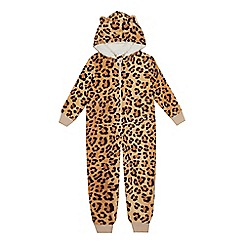 bluezoo - Kids' brown leopard print onesie