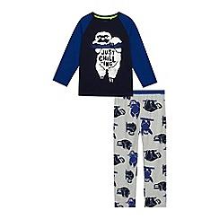 bluezoo - Boys' navy sloth print pyjama set