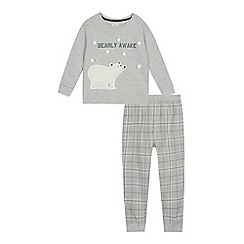 Mantaray - Unisex' grey polar bear applique pyjama set