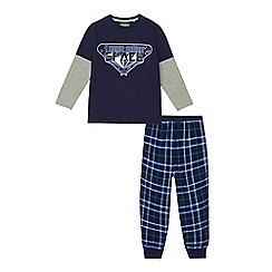 bluezoo - Boys' navy space print jersey pyjama top and bottoms set