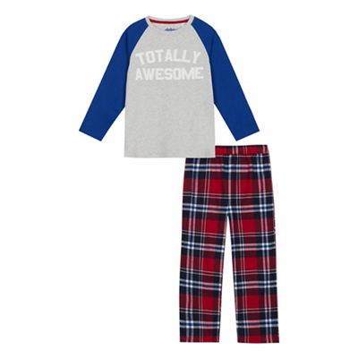 ccab498c3181 bluezoo Boys  Grey  Totally Awesome  Checked Pyjama Bottoms and Top ...