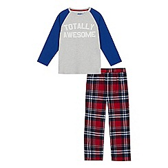 bluezoo - Boys' Grey 'Totally Awesome' Checked Pyjama Bottoms and Top Set