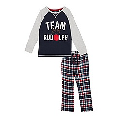 Lounge & Sleep - Kids' navy check print 'Team Rudolph' cotton pyjama set