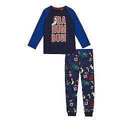 bluezoo - Boys' blue 'bah hum bug' print pyjama set