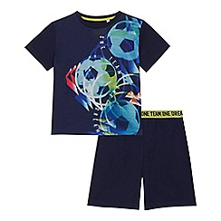 bluezoo - Boys' navy football print t-shirt and shorts set