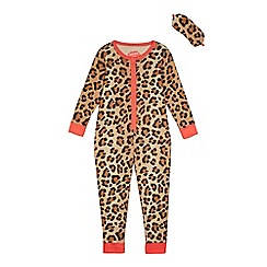 bluezoo - Girls' cream leopard print onesie with an eye mask