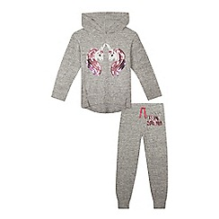 bluezoo - Girls' grey unicorn sequinned pyjama set