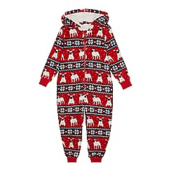 bluezoo - Kids' Red Fair Isle Pug Print Onesie