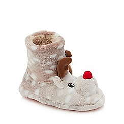bluezoo - Boys' Brown Fleece 'Rudolph' Bootie Slippers