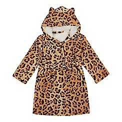 bluezoo - Kids' brown leopard print dressing gown