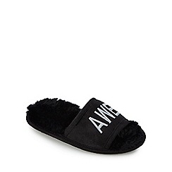 bluezoo - Kids' black 'Awesome' embroidered sliders