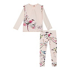Baker by Ted Baker - Girls' pink 'Flight of the Orient' print top and leggings set