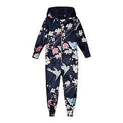 Baker by Ted Baker - Girls' navy floral print velour onesie