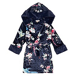 Baker by Ted Baker - Girls' navy floral print velour dressing gown