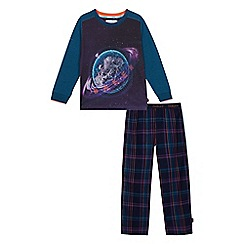 Baker by Ted Baker - Kids' navy planet print checked cotton pyjama set