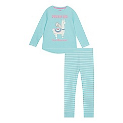 bluezoo - Girls' aqua llama-corn print pyjama set