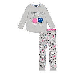 bluezoo - Girls' grey 'sleepover' print pyjama set