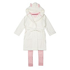 bluezoo - Girls' cream bunny print pyjama and dressing gown set