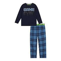 bluezoo - Boys' blue 'game over' print pyjama set