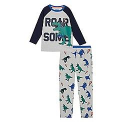 bluezoo - Boys' grey dinosaur print pyjama set