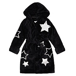 bluezoo - Girls' Black Fleece Sequined Star Dressing Gown