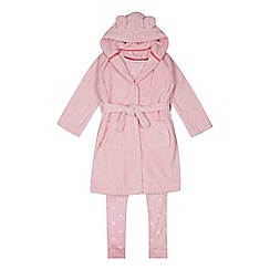 bluezoo - Girls' Pink Star 'Little Princess' Pyjama and Dressing Gown Set