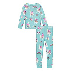 bluezoo - Girls' aqua llama print pyjama set