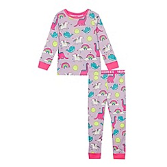 bluezoo - Girls' Lilac Unicorn Print Pyjama Set