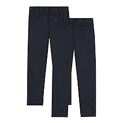Debenhams - Pack of two boys' navy 'Teflon' trousers