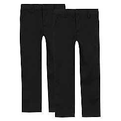 Debenhams - Pack of two boys' black school trousers