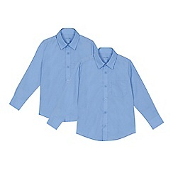 Debenhams - 'Set of 2 boys' blue regular fit school shirts