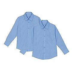 Debenhams - 'Set of 2 boys' blue regular fit school shirts