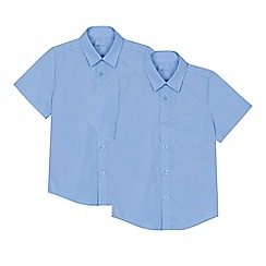 Debenhams - 'Set of 2 boys' blue short sleeve regular fit school shirts